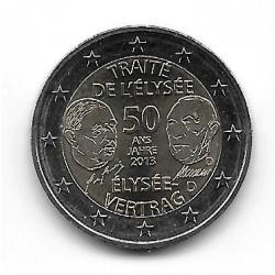 """Moneda 2 Euros Alemania Tratado de Elíseo """"D"""" Año 2013"""