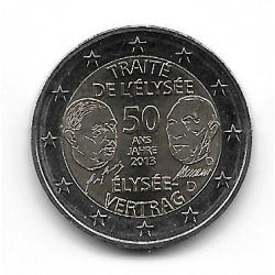"""Münze 2 Euros Deutschland Elysee-Vertrag """"D"""" Jahr 2013"""
