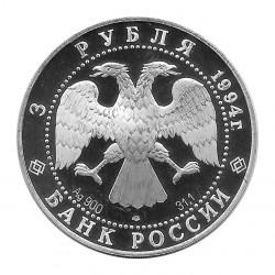 Moneda de Rusia Año 1994 3 Rublos Monasterio San Petersburgo Plata Proof PP