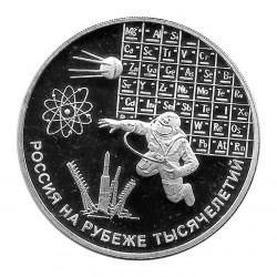 Moneda de Rusia 2000 3 Rublos Milenio Plata Proof PP