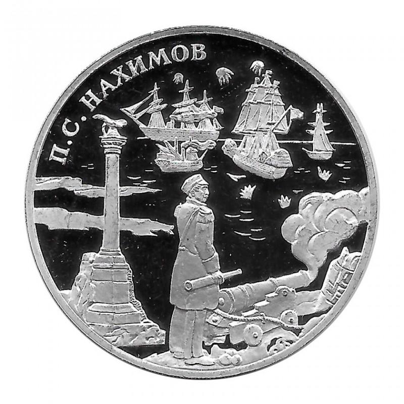 Moneda de Rusia 2002 3 Rublos Nakhimov Plata Proof PP