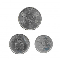 3 Coins Spain 25, 50 and 100 Pesetas Year 1980 Soccer World Cup 1982 Star 80 Uncirculated