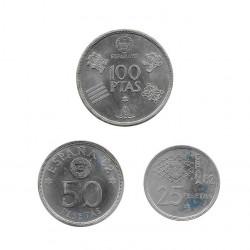 3 Münzen Spain 25, 50 und 100 Peseten Jahr 1980 Weltmeisterschaft 1982 Stern 80 Unzirkuliert