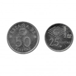 2 Coins Spain 25 and 50 Pesetas Year 1980 Soccer World Cup 1982 Star 81 Uncirculated