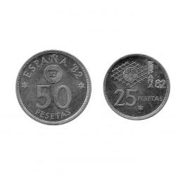 2 Münzen Spain 25 und 50 Peseten Jahr 1980 Weltmeisterschaft 1982 Stern 81 Unzirkuliert
