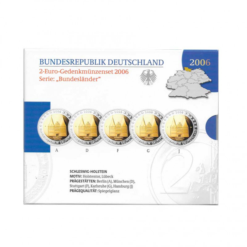 5 Commemorative Coins Set 2 Euro Germany A+D+F+G+J Year 2006 Schleswig-Holstein Proof