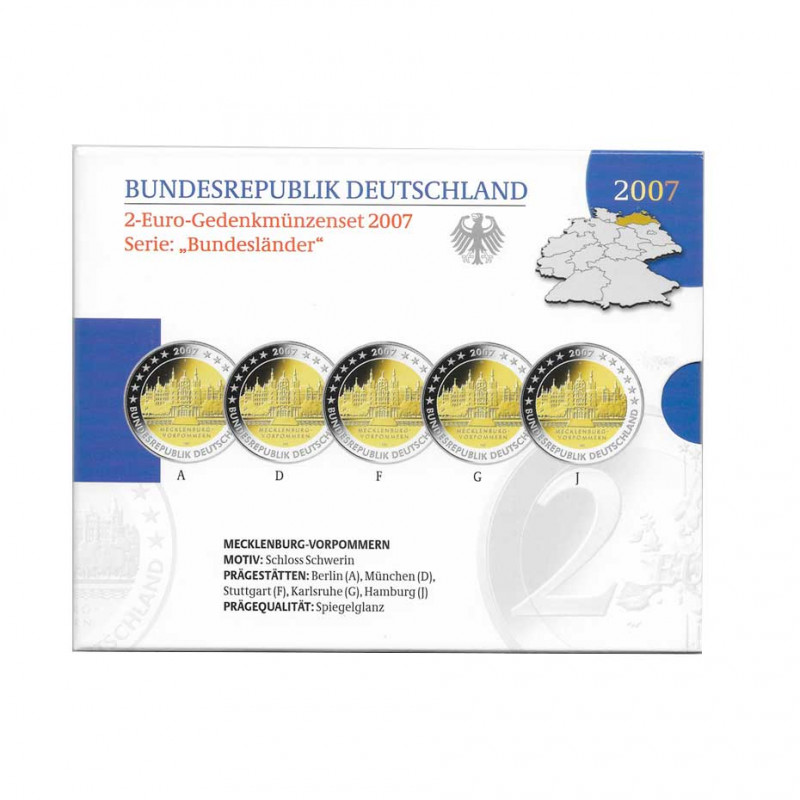 5 Gedenkmünzen 2 Euro Deutschland A+D+F+G+J Jahr 2007 Mekelborg-Vörpommern Spiegelglanz