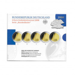 5 Commemorative Coins Set 2 Euro Germany A+D+F+G+J Year 2008 Hamburg Proof