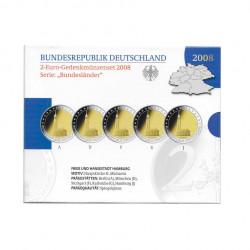 Pack 5 Monedas Conmemorativas 2 Euros Alemania A+D+F+G+J Año 2008 Hamburgo Proof