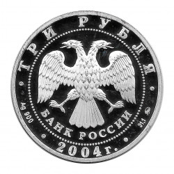 Moneda de Rusia 2004 3 Rublos Selo Dubrovicy Plata Proof PP