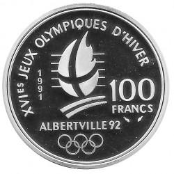 Münze Frankreich 100 Franken Jahr 1991 Olympiade Albertville 92 Silber Proof + Zertifikat