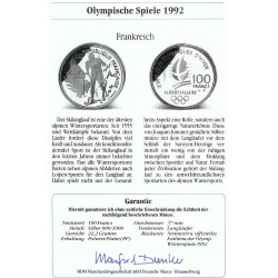 Coin France 100 Francs Year 1991 Olympiad Albertville 92 Silver Proof + Certificate