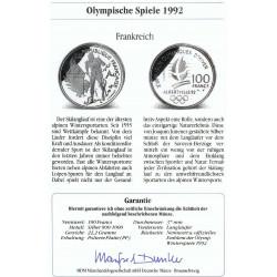 Moneda Francia 100 Francos Año 1991 Olimpiada Albertville 92 Plata Proof + Certificado