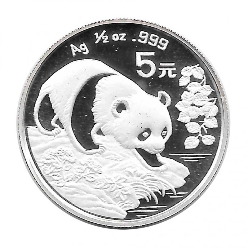 Moneda 5 Yuan China Panda acercándose al agua Año 1994 Plata Proof Sin Circular