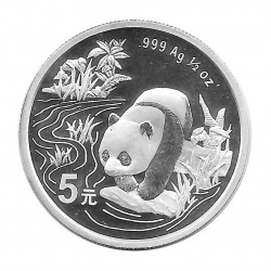 Coin 5 Yuan China Panda drinking water Year 1997 Silver Proof Uncirculated