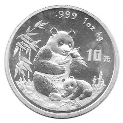 Moneda 10 Yuan China Panda madre y cachorro sentados Año 1996 Plata Proof