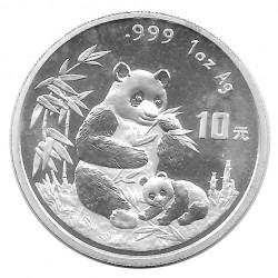 Münze 10 Yuan China Panda Mutter und Jungtier sitzen Jahr 1996 Silber Spiegelglanz