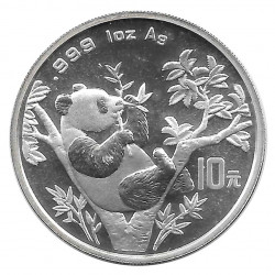Coin 10 Yuan China Panda sitting on branch Year 1995 Silver Proof