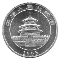 Moneda 10 Yuan China Panda sentado en la rama Año 1995 Plata Proof