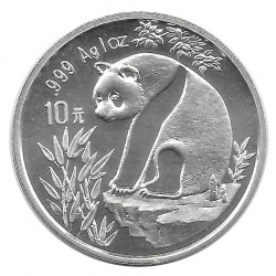 Moneda 10 Yuan China Panda en roca plana Año 1993 Plata Proof
