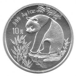 Münze 10 Yuan China Panda auf flachem Felsen Jahr 1993 Silber Spiegelglanz