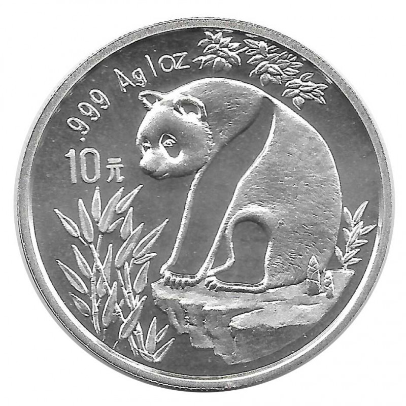 Coin 10 Yuan China Panda on flat rock Year 1993 Silver Proof