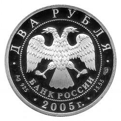 Moneda de Rusia 2005 2 Rublos Michail Solochow Plata Proof PP