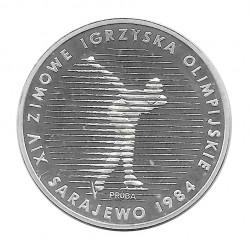 Münze 500 Złote Polen Eisschnelllauf PROBA Jahr 1983 Silber Olympische Spiele 1984 Proof PP