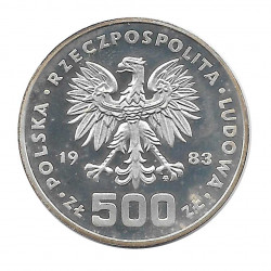 Coin 500 Zloty Poland Speed Skating PROBA Year 1983 Silver Olympic Games 1984 Proof PP