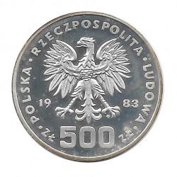 Moneda 500 Zlotys Polonia PROBA Año 1983 Plata Juegos Olímpicos Patinaje Velocidad Proof PP