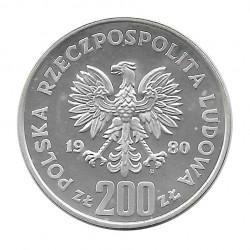 Münze 200 Złote Polen Skisprung 1980