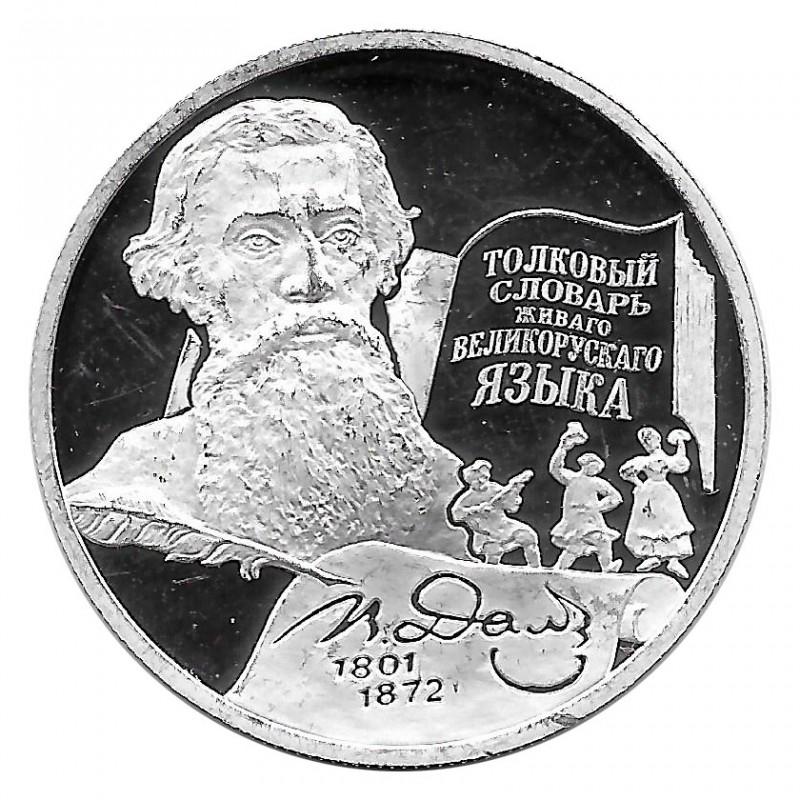 Moneda de Rusia 2001 2 Rublos Vladimir Dahl Plata Proof PP