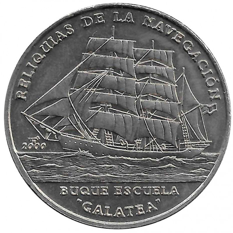 Münze 1 Peso Kuba Schulschiff Galatea Jahr 2000