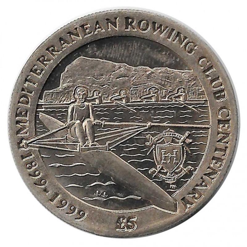 Moneda 5 Libras Gibraltar Mediterranean Rowing Club Año 1999 - ALOTCOINS