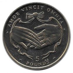 Moneda 5 Libras Gibraltar Amor Vincit Omnia 1997