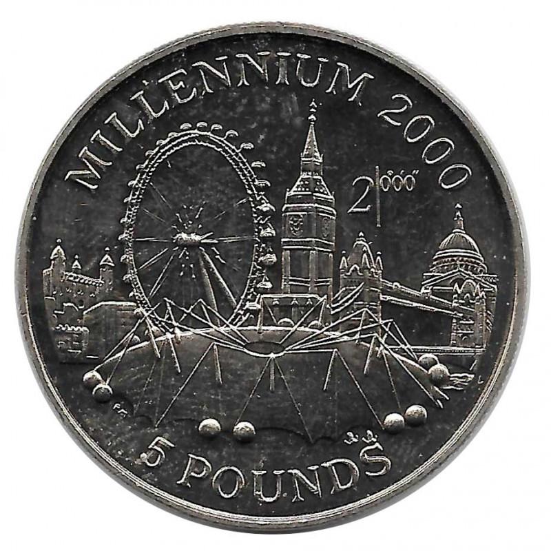 Moneda 5 Libras Gibraltar Milenio 2000 Año 1998