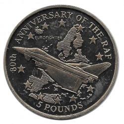 Moneda 5 Libras Gibraltar 80 Aniversario La RAF Año 1998
