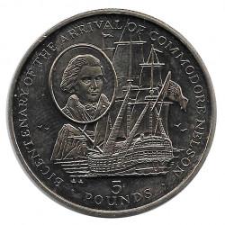 Moneda 5 Libras Gibraltar Comodoro Nelson Año 1997 - ALOTCOINS
