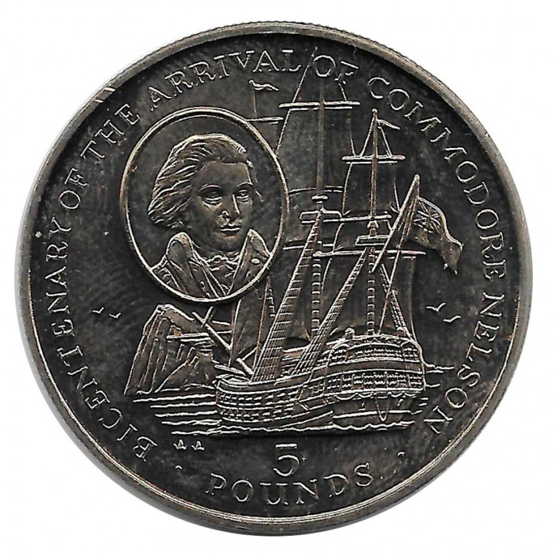 Coin 5 Pounds Gibraltar Commodore Nelson 1997 - ALOTCOINS