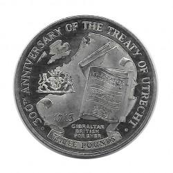 Coin 3 Pounds Gibraltar Peace of Utrecht Year 2013 - ALOTCOINS