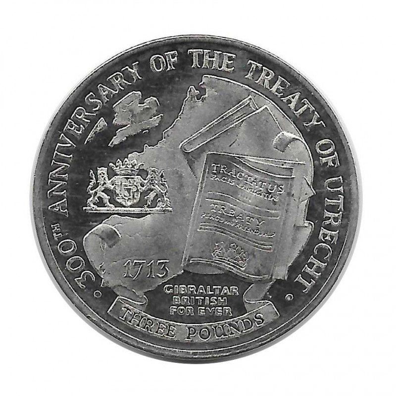 Coin 3 Pounds Gibraltar Peace of Utrecht Year 2013 - ALOTCOINS
