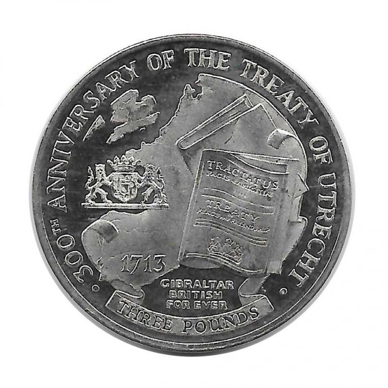 Moneda 3 Libras Gibraltar Tratado de Utrecht Año 2013 - ALOTCOINS
