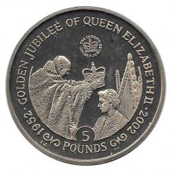 Coin 5 Pounds Gibraltar Queen's Golden Jubilee Year 2002 - Alotcoins