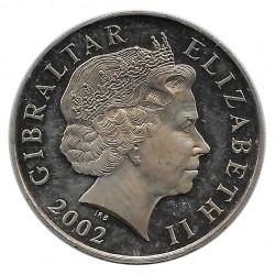 Moneda 5 Libras Gibraltar Jubilación Oro Reina Año 2002 - Alotcoins