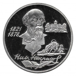 Coin Russia 1996 2 Rubles Nikolai Nekrasov Silver Proof PP