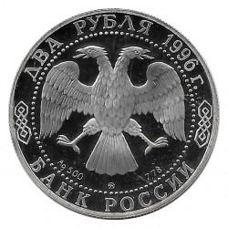 Moneda de Rusia 1996 2 Rublos Nikolai Nekrasov Plata Proof PP