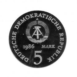 Moneda 5 Marcos Alemanes DDR Escritor Heinrich Año 1986 | Numismática Online - Alotcoins