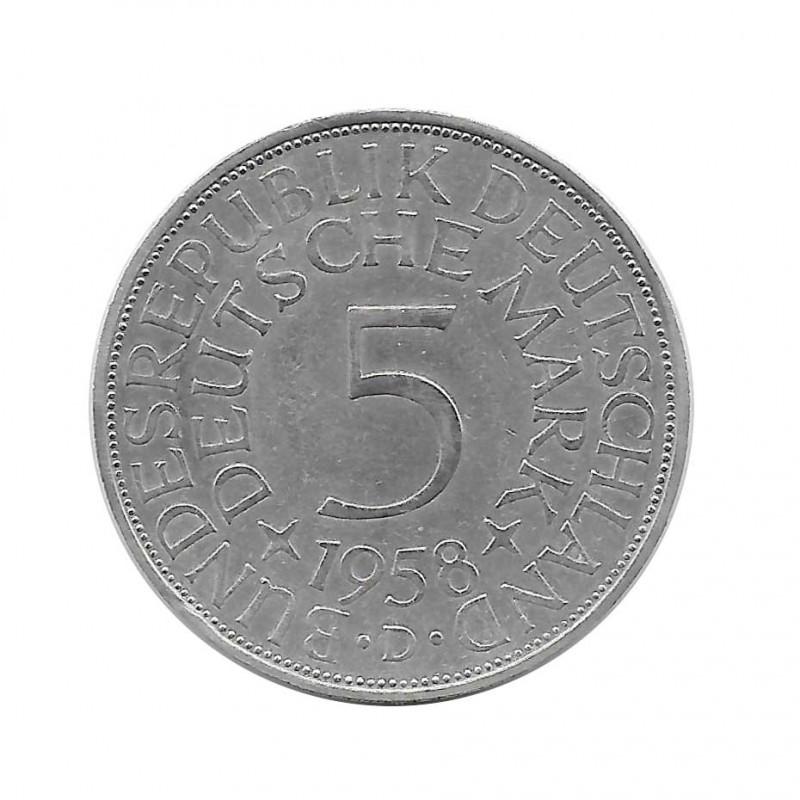 Coin 5 German Marks GDR Eagle D Year 1958 | Numismatics Online - Alotcoins