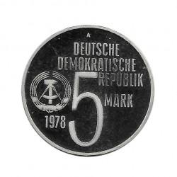 Coin 5 German Marks GDR Anti-Apartheid Year 1978 2 | Numismatics Online - Alotcoins