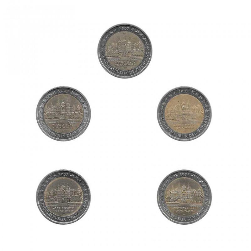 5 Monedas 2 Euros Conmemorativas Alemania Mecklenburg-Vorpommern Año 2007 | Numismática Española Alotcoins